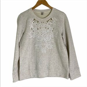 J. Crew Oatmeal Floral Lace Long Sleeve Sweatshirt